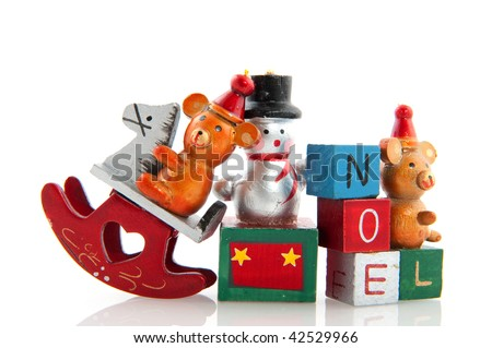 Old vintage christmas toys isolated over white