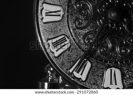 Old vintage clock background , close up on old clock