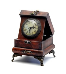 Old Vintage clock isolated on white set