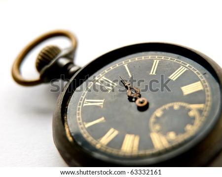 Old vintage clock on white background