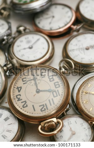 Old vintage clocks, watches
