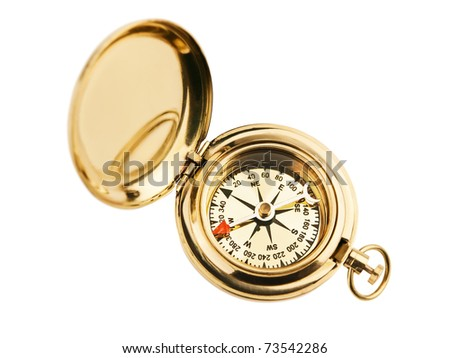 old vintage compass over the white background - stock photo