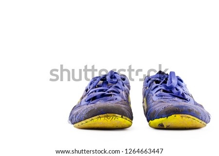 a7f5e1d15a0 old vintage damaged futsal sports shoes on white background football  sportware object isolated  1264663447
