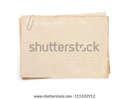 old vintage envelope isolated on white background