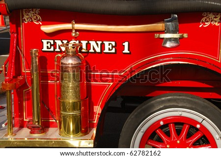 Old vintage fire engine detail at a Fire and emergency services week in Roseburg Oregon