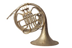 Old vintage golden French horn on a white background, isolated