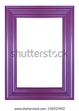 Old vintage golden wooden frame isolated Purple background.