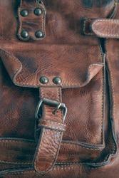 Old vintage hipster leather bag background