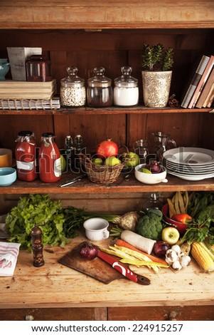 Old vintage kitchen shelf