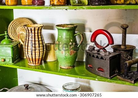 old vintage kitchen shelves are ...