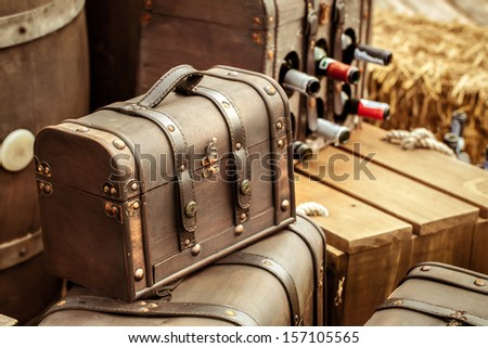 Old vintage leather luggage