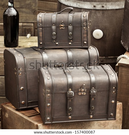 Old vintage leather luggages