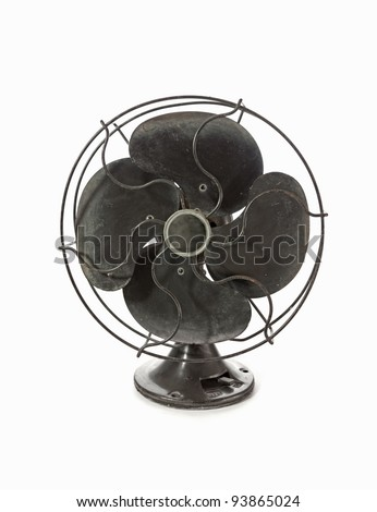 Old vintage metal fan isolated on white - stock photo
