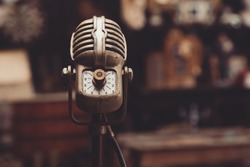 old vintage microphone in an attic
