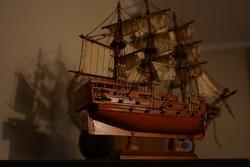 old vintage model ship kit closeup