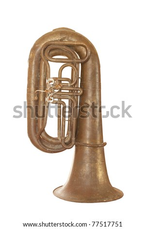 Old vintage musical instrument isolated over white