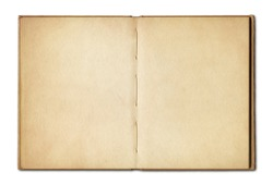 Old vintage open book isolated on white background