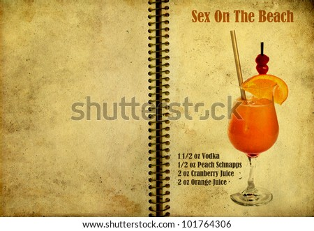 stock photo : Old,vintage or grunge Spiral Recipe Notebook with Sex On The ...