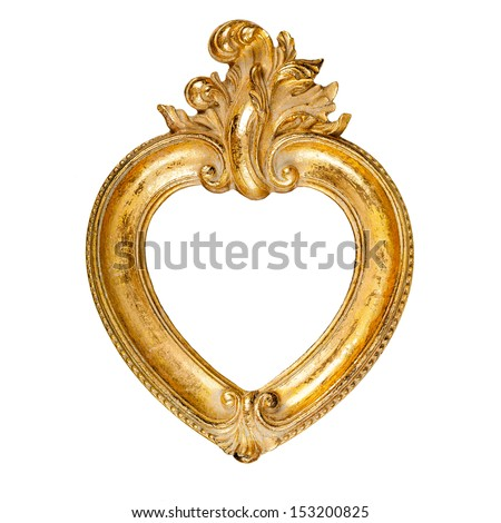 Old vintage ornate heart shaped picture frame