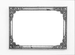 Old vintage ornate metal frame, isolated.