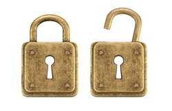 Old, vintage padlocks ( locked and unlocked  ) isolated on white background