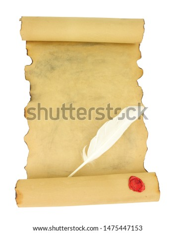Old vintage paper scroll with red wax seal and feather quill pen isolated on a white background #1475447153