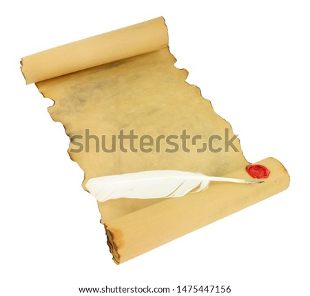 Old vintage paper scroll with red wax seal and feather quill pen isolated on a white background #1475447156