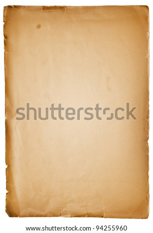 old vintage paper sheet isolated on white