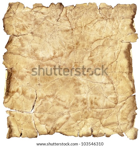 Old vintage paper texture or background isolated on white