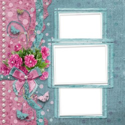Old vintage photo album with beautiful pink peonies and butterflies flying