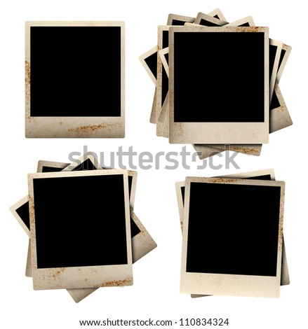 Old Vintage Photo Frames, isolated on white background ( clipping paths for design work ) - stock photo