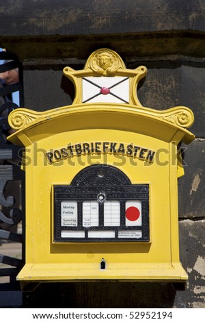 Old vintage post box in Dresden, Saxony, Germany.