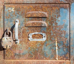 Old vintage postal or Bank locker box with padlock