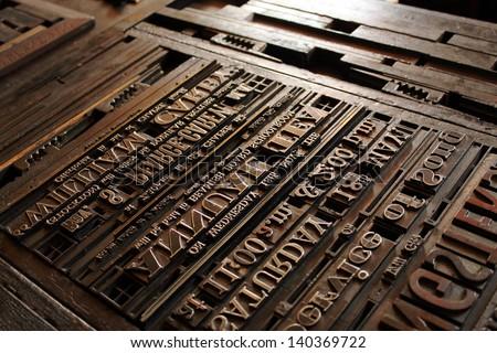 Old Vintage Printing Press Letters Сток-фото ©