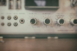 Old vintage radio image. Focus on the button Volume.