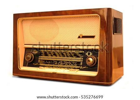 old vintage radio isolated on...