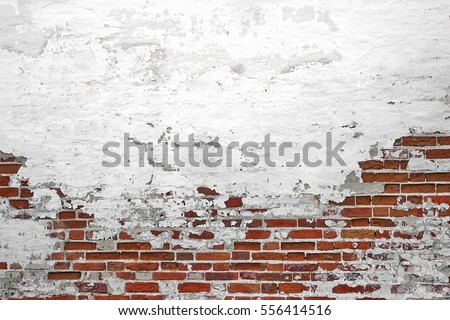 Old Vintage Red Brick Wall With Crashed White Plaster Texture Background.