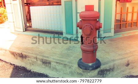 old vintage red fire hydrant on ...
