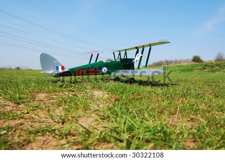 old vintage remote controlled model or toy  biplane