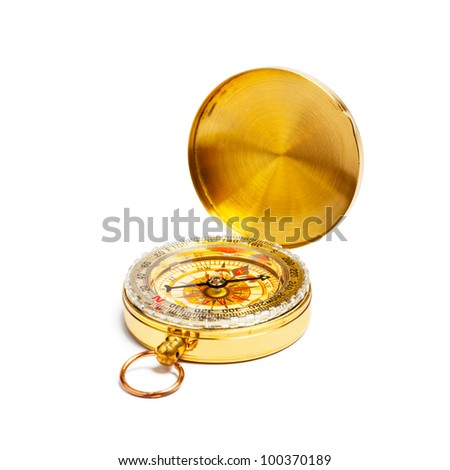 Old vintage retro golden compass isolated
