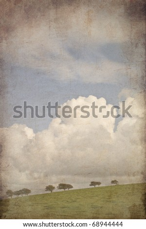 Old vintage retro grunge effect photo on countryside landscape