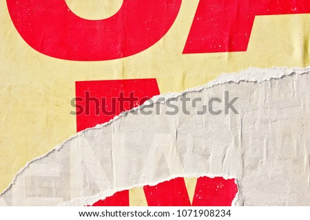 Old vintage ripped torn posters grunge texture background creased crumpled paper backdrop placard surface