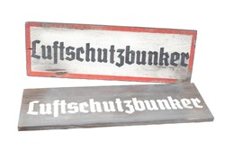 old vintage road sign with german text Luftschutzbunker it means air raid shelter from german worldwar 2