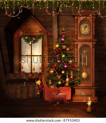 Old vintage room with a Christmas tree and decorations