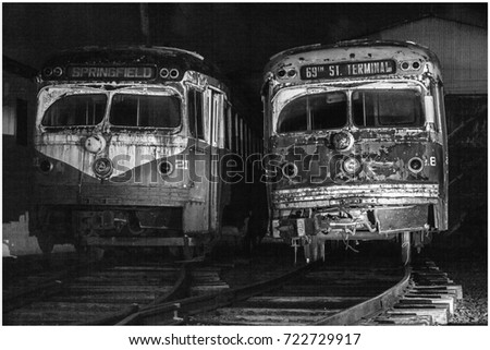 old   vintage rusted buses