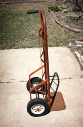 Old vintage rusted handcart trolley