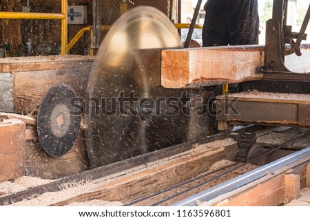 Old Vintage Sawmill with Large Spinning Saw Blade and Raw Lumber being cut and Sawdust flying.