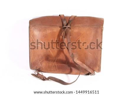 old vintage school bag leather on white background #1449916511