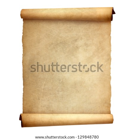 Old vintage scroll isolated on white background ストックフォト ©