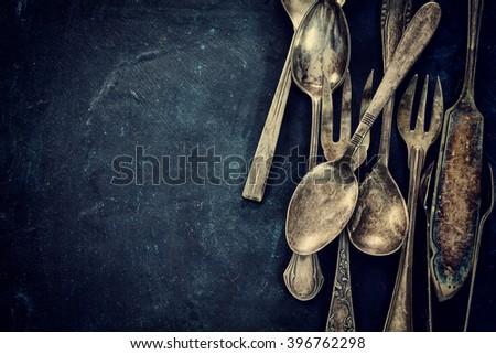 old vintage silverware on...